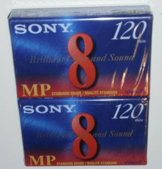 2 Sony Mp Camcorder 8mm Cassettes Video 8 P6 - 120mpd Usa Made In Usa
