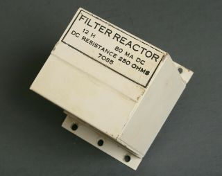 Vintage Filter Reactor - Choke For Power Supply 12 Hy 80 Ma 250 Ohms