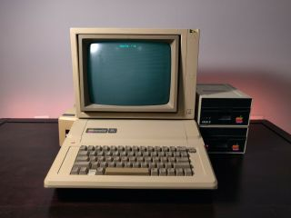Apple Iie Computer W/ Montior,  Two Disc Drives,  And Imagewriter Ii - All
