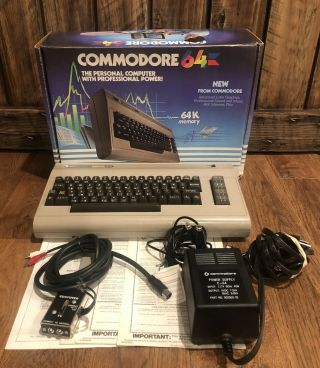 Commodore 64 Personal Computer With Manuals,  Hookup Cords - - Read