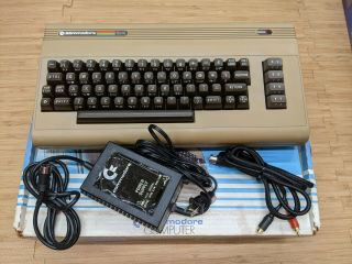 Commodore 64 Computer Cleaned,  And 10,  Hours W/ Sid,  Box,  Cables