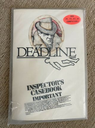 "Infocom Deadline Pc Xt At Ibm Pcjr 5.  25 "" Floppy Disk Computer Game"