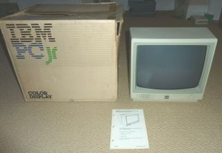 Ibm Pcjr Color Monitor Model 4863 With Box,  Great