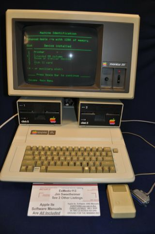 Early Apple Iie Apple Monitor Iii 2 Disc Drives Mouse Manuals And Many