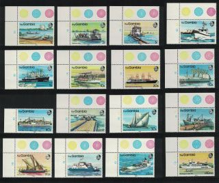 Gambia River Craft Ships 16v Corners 1983 Mnh Sg 494 - 509