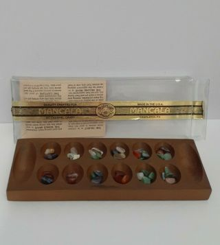 Channel Craft Classic Mancala Wooden & Stone Slider Board Game Usa Made Small