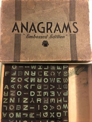 Vintage Anagrams Game 'embossed Edition' - 174 Tiles - Great For Crafts